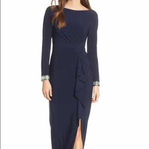 Vince Camuto Navy Beaded ruched gown